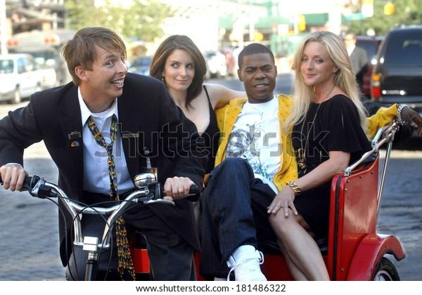Jack McBrayer, Tina Fey, Tracy Morgan and Jane Krakowski on location for Entetainment Weekly Photoshoot to promote 30 ROCK, Meatpacking District, New York, August 11, 2007