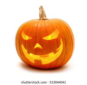 Jack o Lantern Halloween pumpkin grinning in the most evil fashion, isolated on white