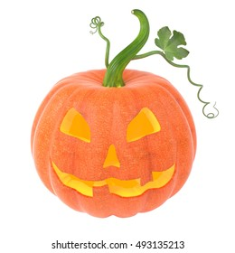 Jack O'Lantern pumpkin with candle light inside isolated on white background. Halloween pumpkin with long stem, green leaf and curls. 3D illustration.