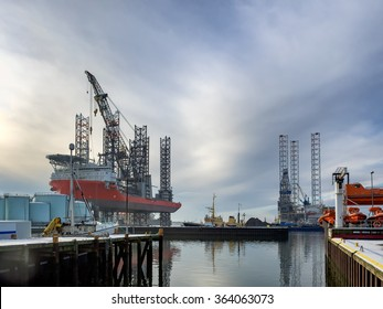 Jack up rig with six legs in Esbjerg oil harbor, Denmark