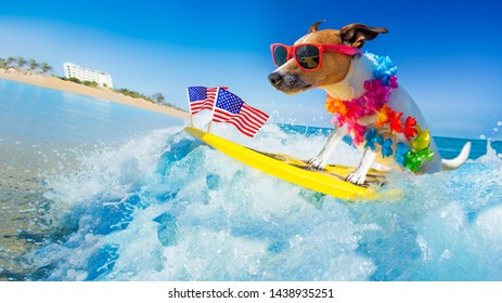 jack russell dog surfing on a wave , on ocean sea on summer vacation holidays, with cool sunglasses and usa independence day flag for the 4th of July