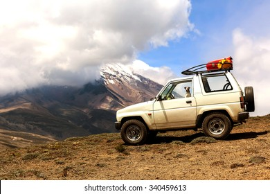 Jack Russell Terrier Female Dog Travels In The Andes Mountains In A 4X4 Old Jeep