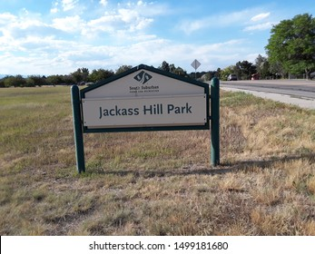 Jackass Hill Park sign in Littleton Colorado