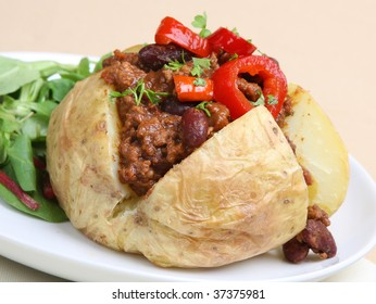 Jacket potato filled with chilli