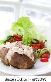 Jacket potato with tuna and fresh salad