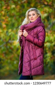 Jackets everyone should have. Best puffer coat to buy. How pick jacket. Puffer fashion concept. Professional stylist advice. Woman wear extra volume jacket. Girl fashionable blonde walk autumn park.