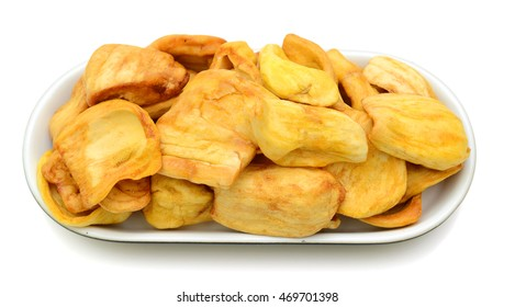 JackFruit Chips Vacuum fried in plate isolated on white background