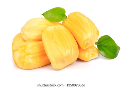Jackfruit  with green leaf  on white background