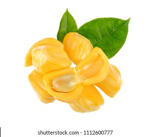 Jackfruit with jackfruit leaf, isolated on white background, Top view.