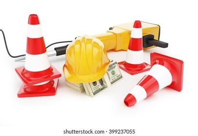 jackhammer construction helmet traffic cones, road cone