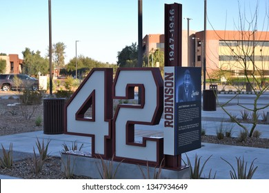 Jackie Robinson's number 42 retired by all major league teams outside the Milwaukee Brewers spring training facility in Phoenix Arizona 2/23/19