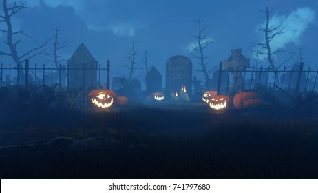 Jack-o-lantern carved halloween pumpkins at entrance to abandoned spooky cemetery and lighted candles near old tombstone at foggy night. 3D illustration from my own 3D rendering file.