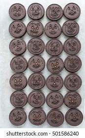 Jack-o-lantern cookies for Halloween. Background.