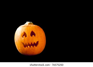 Jack-o-lantern with flame eyes and jagged teeth