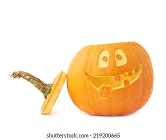 Jack-o'-lanterns orange halloween pumpkin head with the happy smiling facial expression carved on it, isolated over the white background