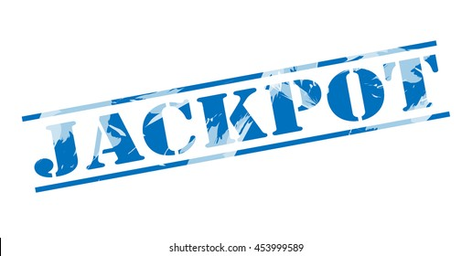 jackpot blue stamp on white background