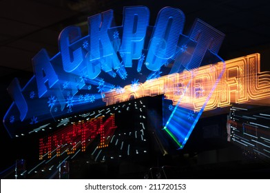 Jackpot winner sign from casino gambling and amusement arcade with zoom bur