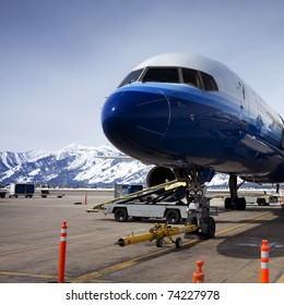 Jackson Hole airport is located at the foot of the tetons.  This view has the pyramid to the ski resort.