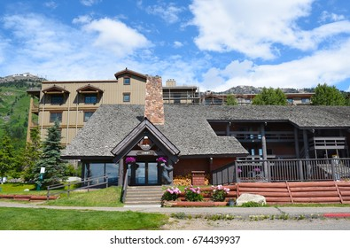 JACKSON HOLE, WYOMING - JUNE 27, 2017: The Inn at Jackson Hole. Ideally located at the base of Jackson Hole Mountain Resort with easy access to the mountain and Teton Village.