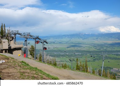 JACKSON HOLE, WYOMING - JUNE 27, 2017: Bridger Gondola arriving at Rendezvous Mountain. The Gondola takes hikers and sightseers to the summit for spectacular views of the valley.