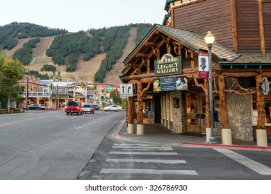 "JACKSON HOLE, WYOMING - SEP 28: Downtown Jackson Hole Wyoming USA on September 28, 2015 It was named after David Edward ""Davey"" Jackson who trapped beaver in the area in the early nineteenth century."