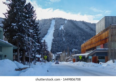 Jackson Hole, Wyoming - United States.  February 16th 2019.  Quiet street in a mountain ski town during winter.