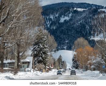 Jackson Hole - Wyoming - United States.  February 16th 2019.  Quiet street in Jackson Wyoming during ski season.