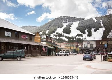 Jackson Hole, Wyoming / USA - April 4 2016: Downtown Jackson Hole with Snow King mountain ski in the background