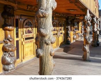 Jackson Hole, WY/USA - May 13 2008: Legendary Million Dollar Cowboy Bar in center of Jackson Hole