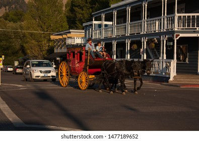 Jackson Hole,Wyoming/United States-August18,2012:Stagecoach ride on the streets of Jackson Hole.
