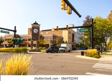 Jackson, Michigan, USA - October 9, 2020: Downtown district and city streets of the American Midwest town of Jackson located in the southern Lower Peninsula of Michigan.