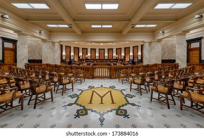 JACKSON, MISSISSIPPI - JANUARY 13: Supreme Court chamber of the Mississippi State Capitol building on January 13, 2104 in Jackson, Mississippi