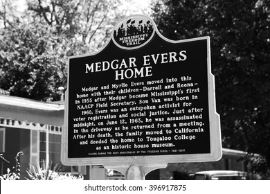 JACKSON, MS - MAY 4: Historic Marker at Medgar Evers Home in Jackson, MS on May 4, 2014. Evers was assassinated in the driveway just after midnight on June 12, 1963.
