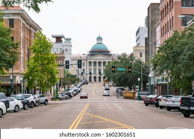 Jackson, MS - October 7, 2019: Old Mississippi Capitol Building from Capitol Street in Jackson