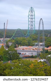 Jackson, New Jersey, United States of America - September 27, 2015. View over Six Flags Great Adventure in Jackson, NJ, taken from outside of the park, with Kingda Ka roller coaster at 139m tall.