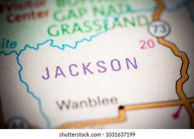 Jackson. South Dakota. USA on a map.