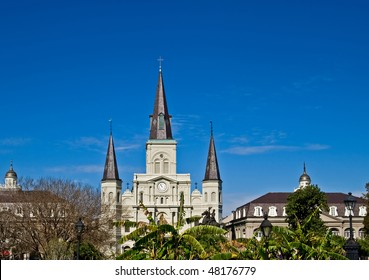 Jackson Square in New Orleans, with St. Louis Cathedral in background