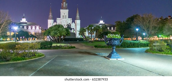 Jackson Square at night, New Orleans.