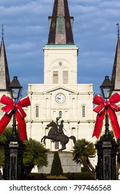 Jackson Statue and St. Louis Cathedral at Jackson Square, New Orleans