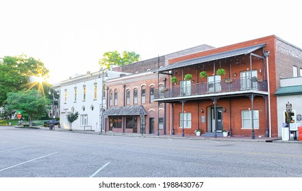 Jackson, Tennessee United States - June 1 2021: some historic buildings downtown in the evening sun