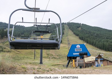 Jackson, WY, 8/22/2019: View of the Summit Lift ski chair lift of the Jackson Hole ski resort.