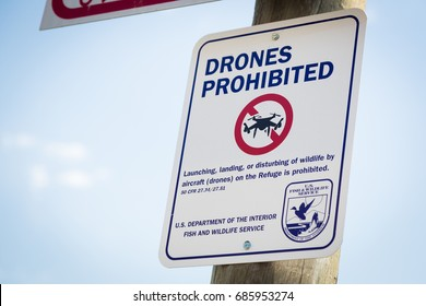 Jackson, WY, USA - July 16, 2017: Drones Prohibited Sign Near Elk Sactuary Near Grand Titons National Park.