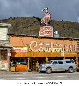 JACKSON, WY, USA - OCTOBER 1: The Million Dollar Cowboy Bar on October 1, 2014 in Jackson, WY. This legendary bar is has featured in Hollywood movies and famous country music stars have played here.