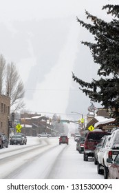 Jackson, Wyoming, United States - February 22, 2009: Snowstorm in the town of Jackson Wyoming on Cache street with Snow King ski resort in background