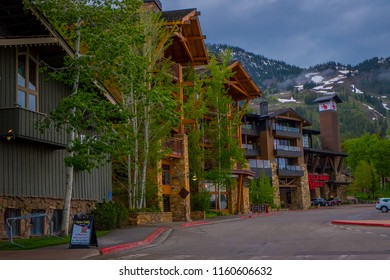JACKSON, WYOMING, USA, JUNE, 07, 2018: Outdoor view of the gorgeous wooden and stoned hotel. The somewhat Tudor-style building was the first luxury hotel in Jackson