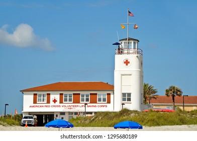 Jacksonville Beach, Florida / USA - April 17, 2012: American Red Cross Volunteer Life Saving Corps located at Jacksonville Beach, Florida