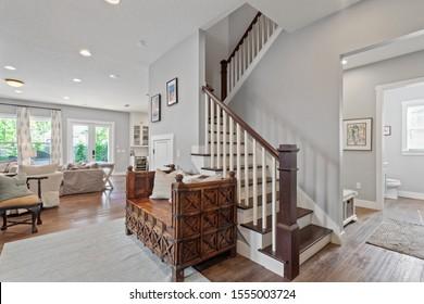 Jacksonville Beach, Florida / USA - November 9 2019: Nice staircase in a luxury home