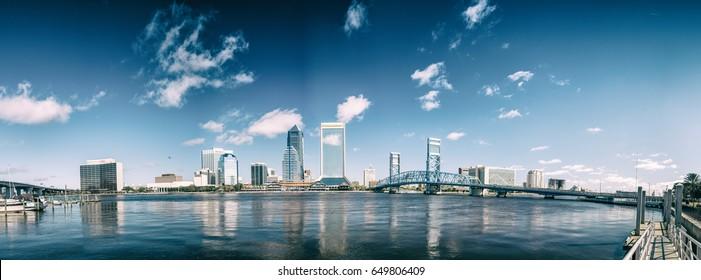 Jacksonville beautiful skyline, panoramic city view at sunset - Florida.