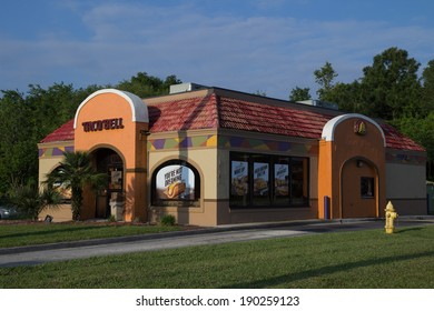 JACKSONVILLE, FL - APRIL 27, 2014: A Taco Bell fast-food restaurant in Jacksonville. Taco Bell serves more than 2 billion customers each year in more than 5,800 restaurants.