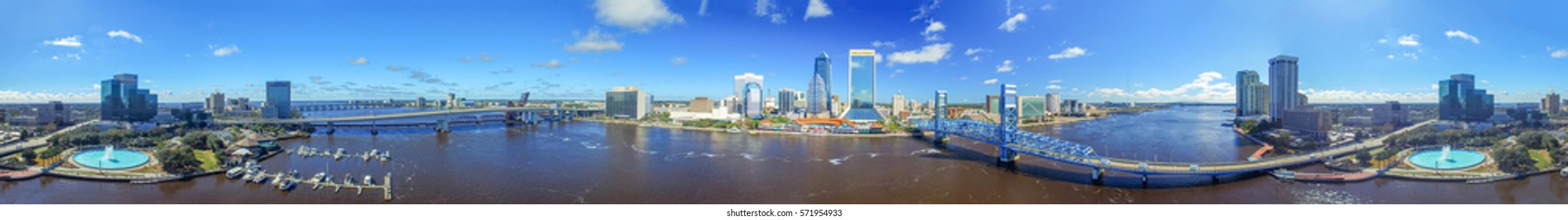 JACKSONVILLE, FL - FEBRUARY 15, 2016: Aerial panoramic view of city skyline. Jacksonville is a famous tourist destination in Florida